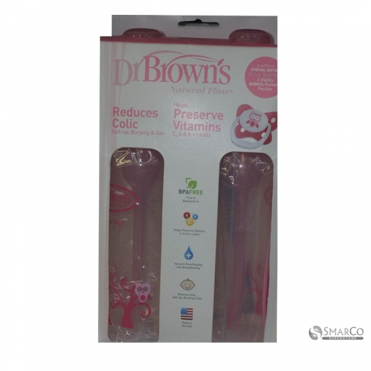 DR.BROWN SN PINK DECO BOTTLE + PACIFIER GIFT SET, 2 PACK-USA 250 ML 6061010040134 072239300732