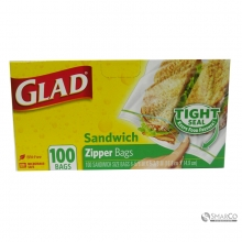GLAD ZIPPER SANDWICH 100`S 012587600627